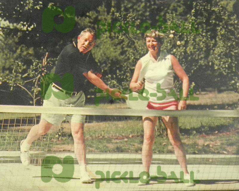 Barney and Carol McCallum Playing Pickleball on Bainbridge Island in early 1970s